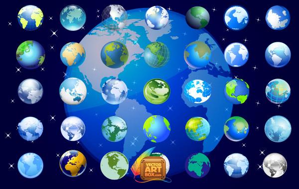 Earth-Globe-Icons-Set