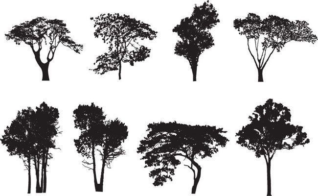8-Tree-Silhouette-Vectors