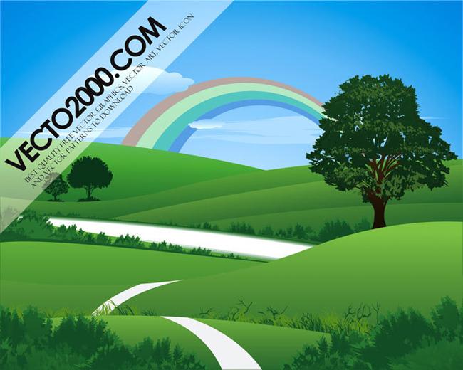 Fresh-Green-Landscape-with-Rainbow