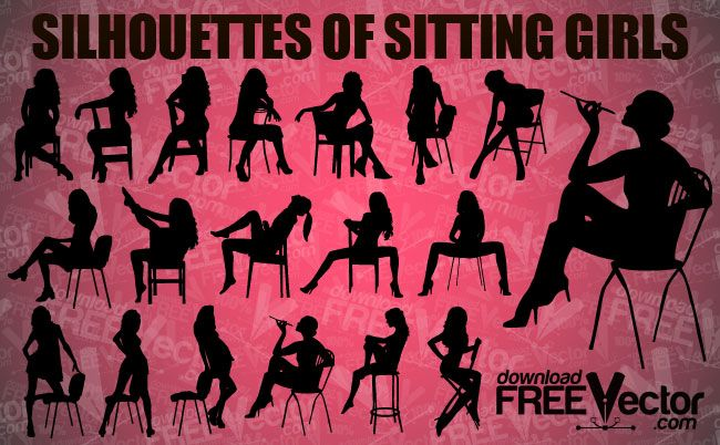 Silhouettes-Of-Sitting-Girls