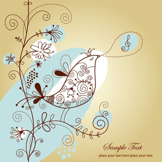 Singing-Bird-with-Floral-Vector-Illustration