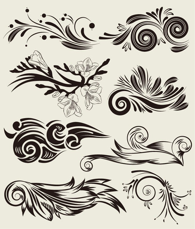 Vector-Set-of-Beautiful-Floral-Elements-Free
