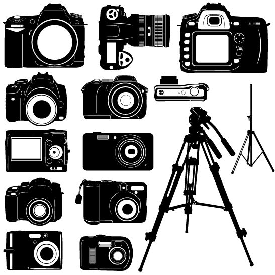 Black-and-White-Digital-Camera-Silhouette-Vector