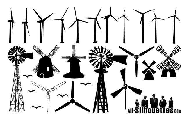 free vector windmill silhouettes free vector site download free rh freevectorsite com windmill vector image windmill vector download