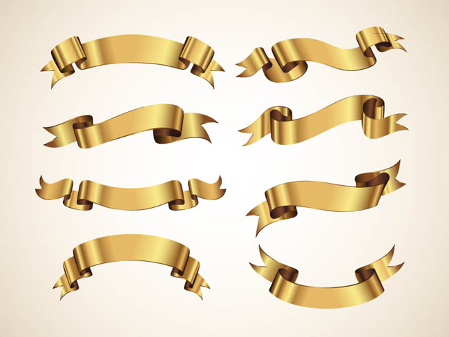 Golden-Decorative-Vector-Ribbons-Set