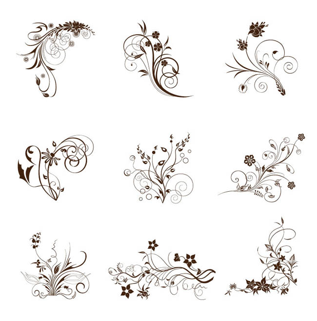 Vector-Illustration-Set-of-Swirling-Flourishes-Decorative-Floral-Elements