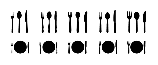 knife-forks-dishware-Silhouettes