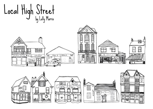Free hand drawn high street shops vector free vector for Free drawing sites
