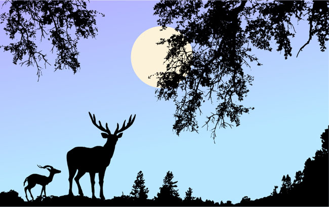 Nature-Scene-Vector-with-Deer