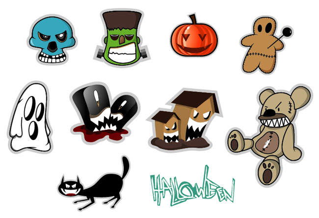 10 Halloween Stickers Set - Free Vector Site | Download Free ...