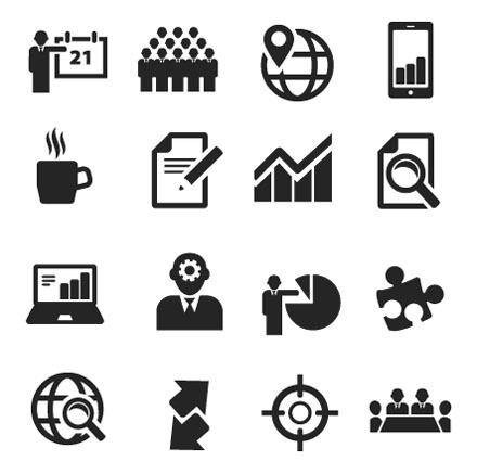 Clean Business Icons Set - Free Vector Site | Download Free Vector ...