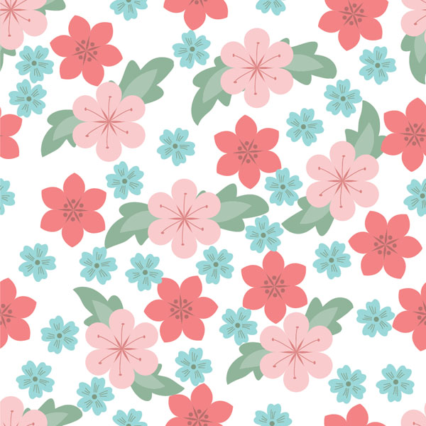 Simple flower pattern blue