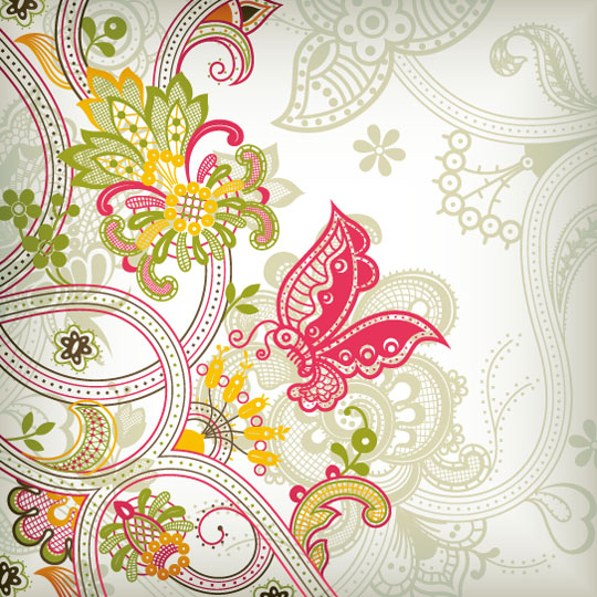 Vintage-Flower-Pattern-Background-Vector Art