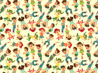 Cartoon-Child-Jump-Seamless-Pattern