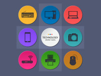 9-Flat-Round-Technology-Icons-Set