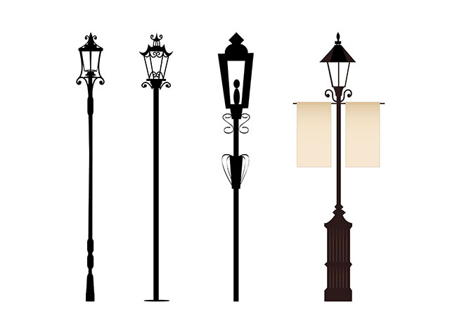 4 vintage street lights free vector site download free vector