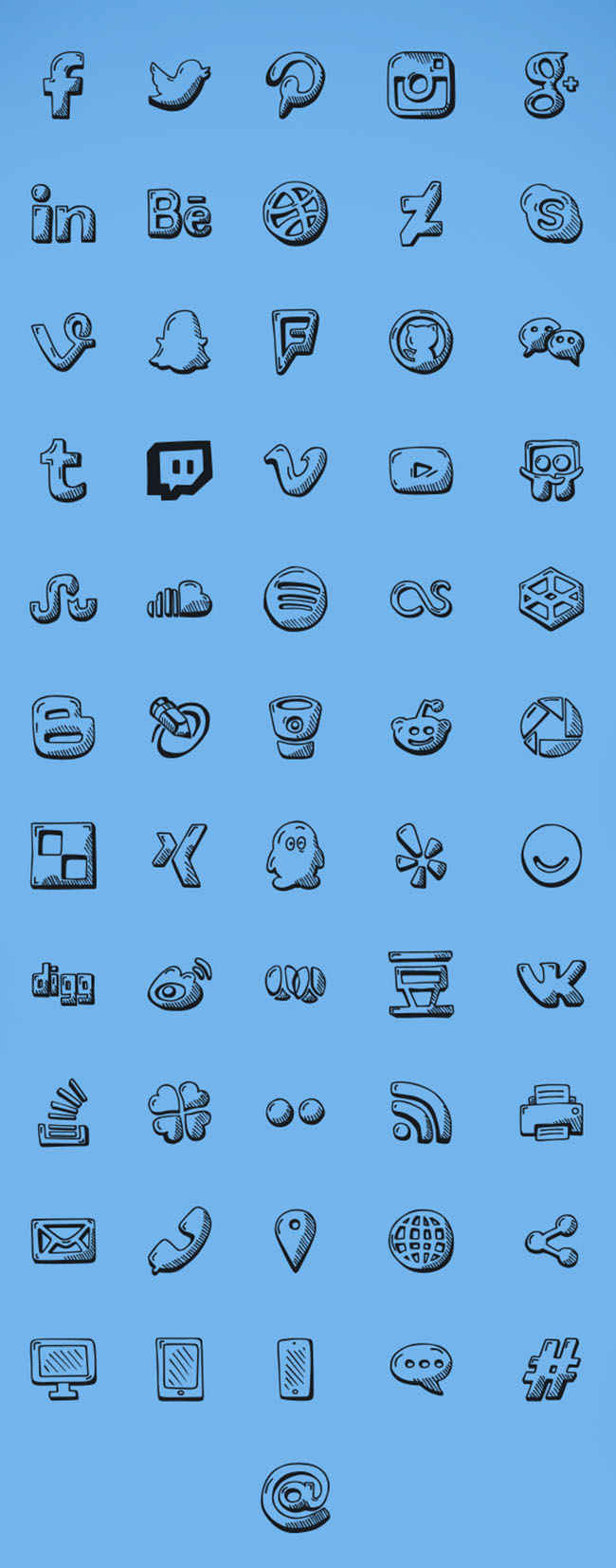56-Hand-Drawn-Social-Icons