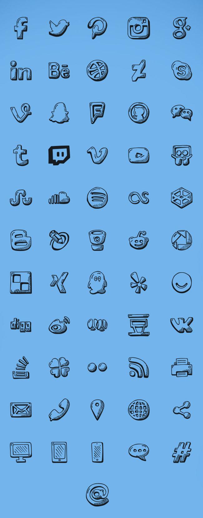 56-Hand-Drawn-Social-Icons