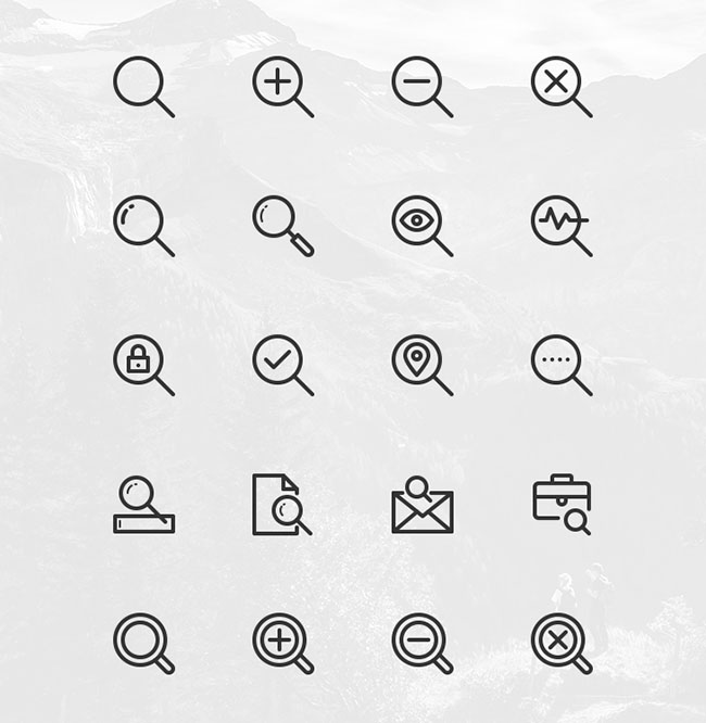 20-Free-Search-Vector-Line-Icons