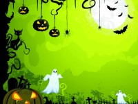 Vector-glowing-pumpkin-in-graveyard-green-greeting-card-template