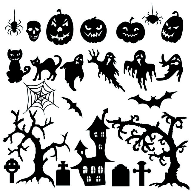 Vector set of halloween silhouette elements - Free Vector Site ...