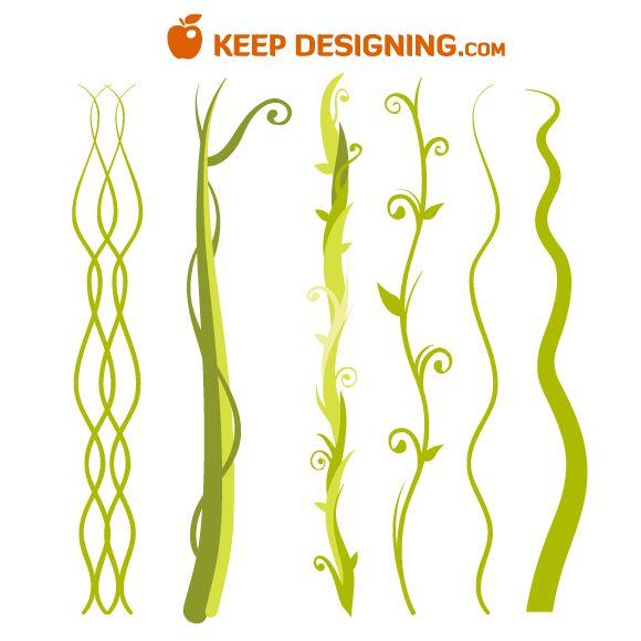 6-Jungle-Plant-Vine-Beanstalk-Vectors