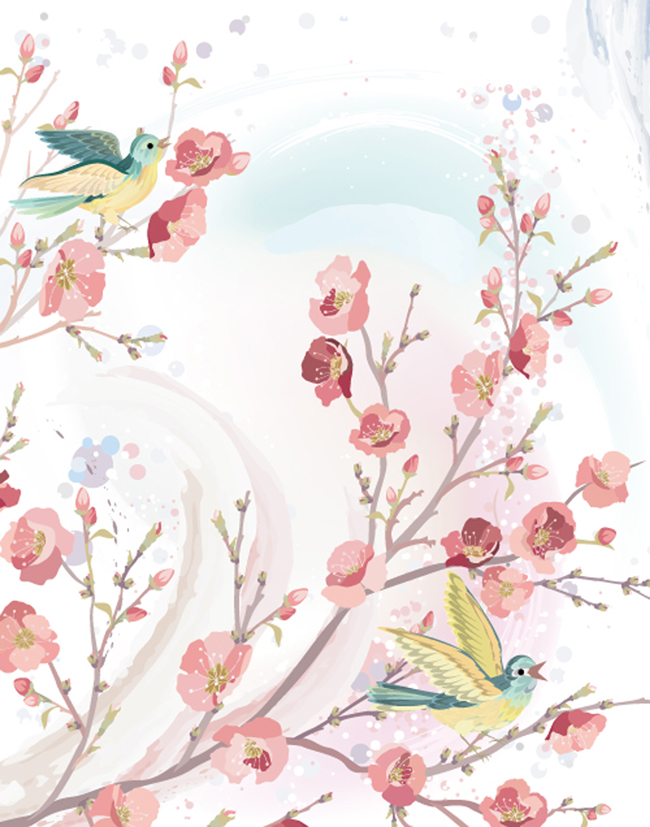 Hand-Painted-Spring-Flowers-and-Birds-Background