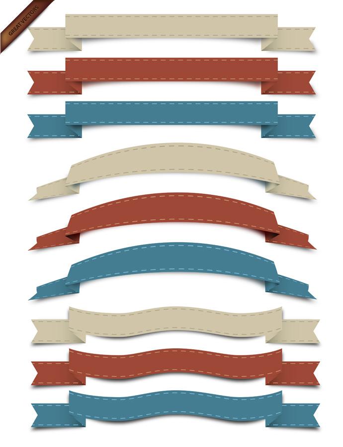 Vector-Retro-Ribbon-Set