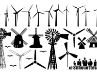 Free-Vector-Windmill-Silhouettes