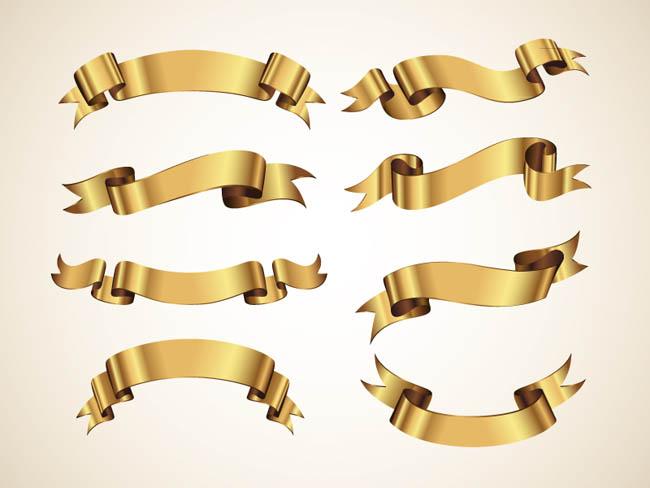 Golden-Decorative-Vector-Ribbons-Set