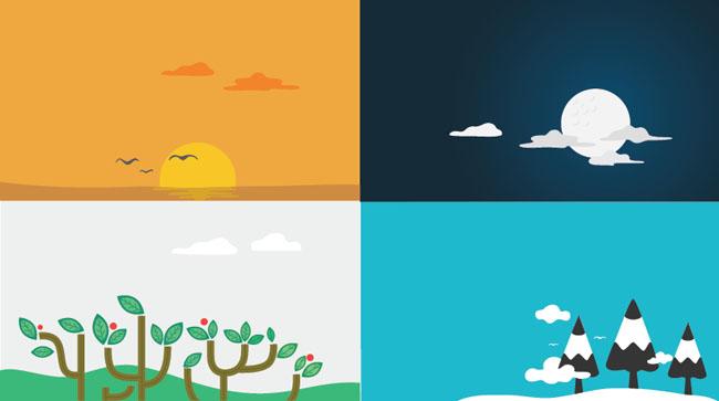 4-Unique-Nature-Scenes-Vector-backgrounds