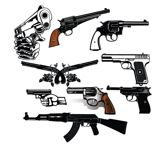 9-Detailed-Vector-Guns-and-Pistols-Set