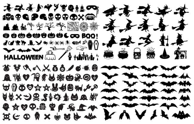 Halloween-Silhouette-Elements-Vector