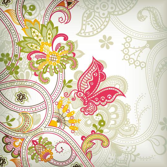 Vintage-Flower-Pattern-Background-Vector Art