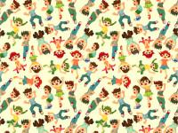 Cartoon-Child-Jump-Seamless-Pattern
