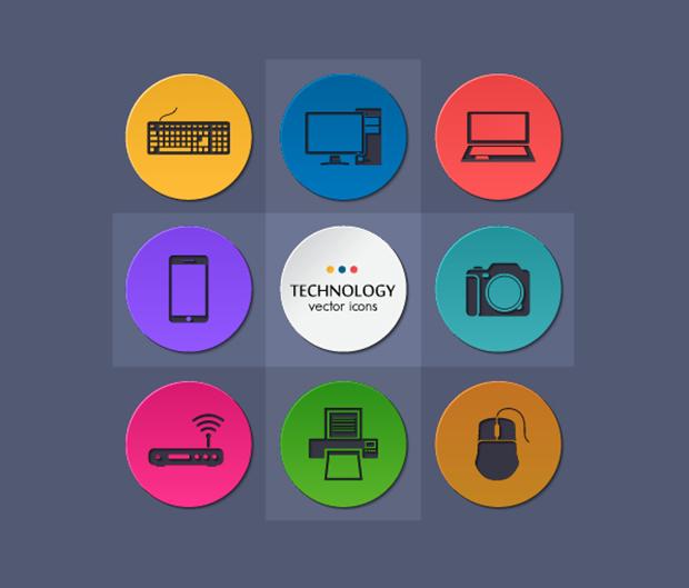 9-Flat-Round-Technology-Icons-Set