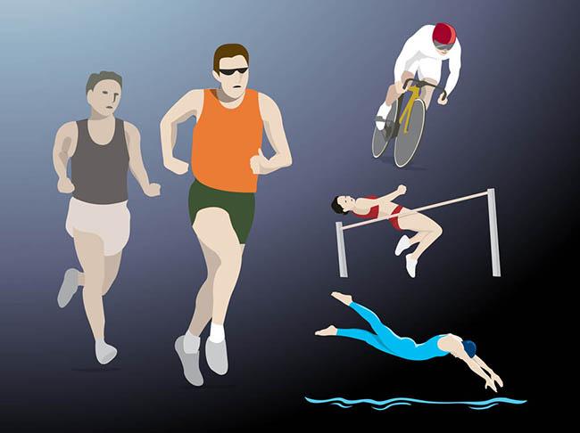 People-swimming-jogging-cycling-jumping