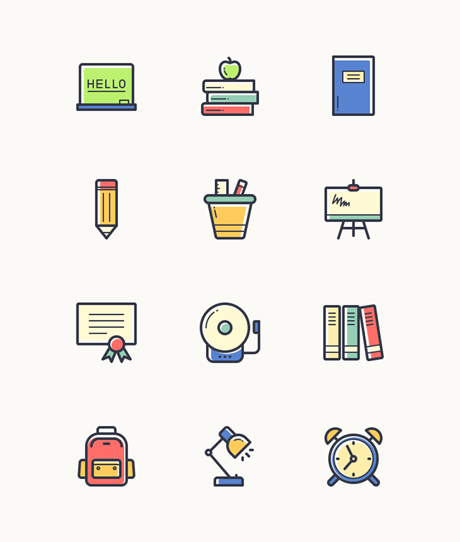 12-Free-Back-to-School-Line-Vector-Icons