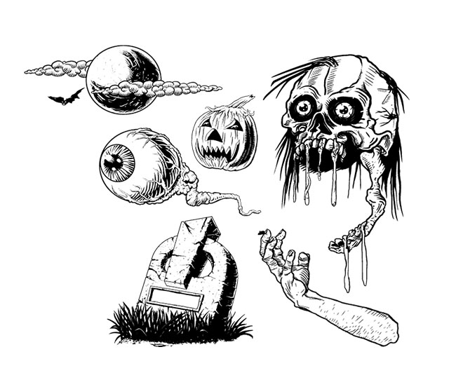 Vector-Horror-Human-Skull-eye-grave-elbow-illustration