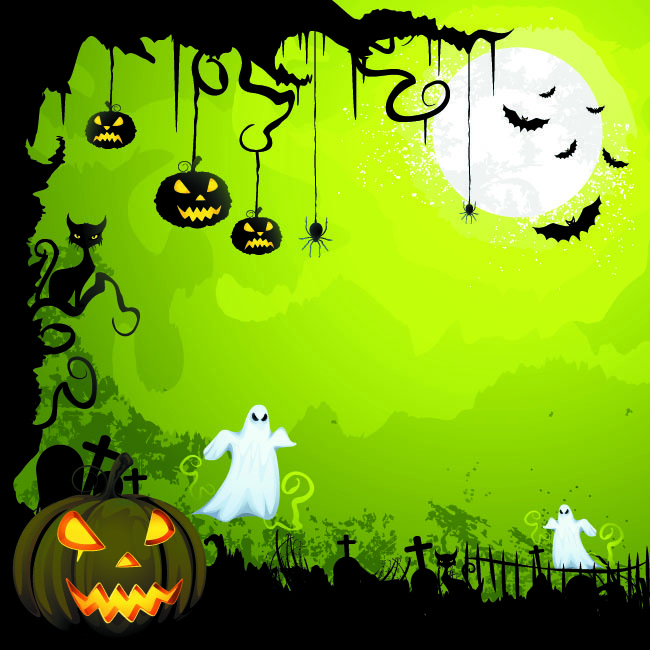 Vector-glowing-pumpkin-in-graveyard-green-greeting-card-template