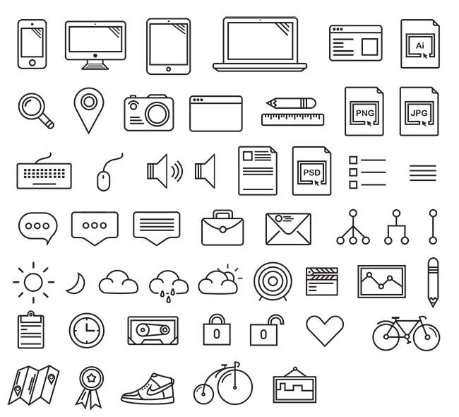 50-Office-Stationery-Concise-Style-Icons